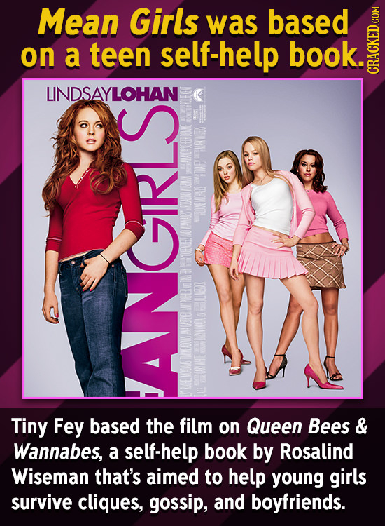 Mean Girls was based on a teen self-help book. GRAU LINDSAYLOHAN INEY IAN ONNOHOS ANA EVSAD AVIPHIR AATE HONCKOL INIAROS HE Tiny Fey based ANGIRIS the