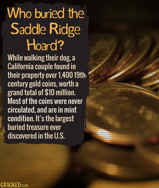 Who buried the Saddle Ridge Hoard? While walking their dog, a California couple found in their property over 400 19th- century gold coins, worth a gra