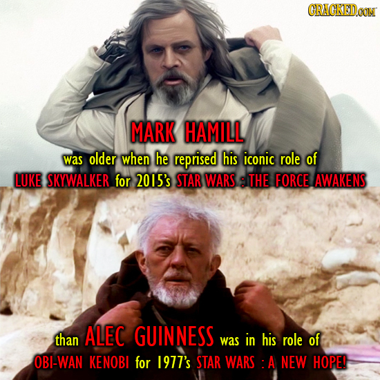 CRACKEDCON MARK HAMILL was older when he reprised his iconic role of LUKE SKYWALKER for 2015's STAR WARS THE FORCE AWAKENS ALEC than GUINNESS was in h