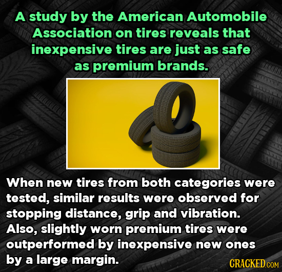 A study by the American Automobile Association on tires reveals that inexpensive tires are just as safe as premium brands. When new tires from both ca