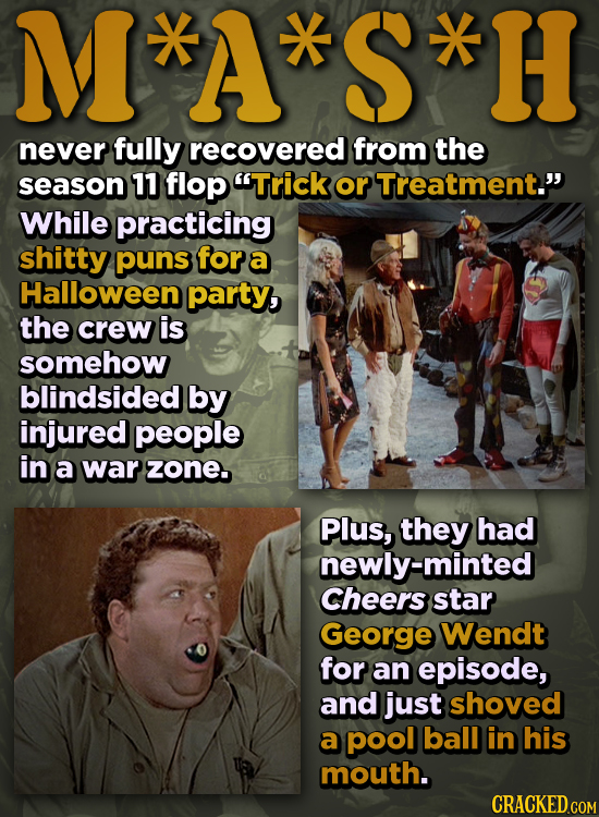M*A*S*H never fully recovered from the season 11 flop Trick or Treatment. While practicing shitty puns for a Halloween party, the crew is somehow bl