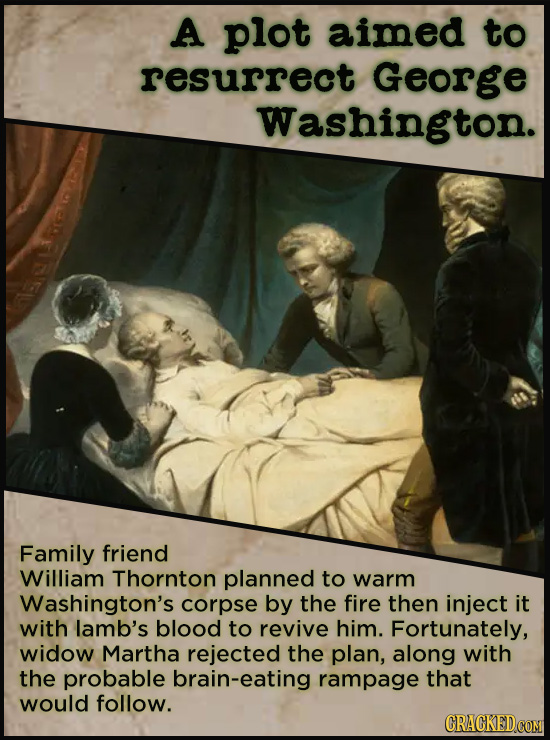 A plot aimed to resurrect George Washington. Family friend William Thornton planned to warm Washington's corpse by the fire then inject it with lamb's