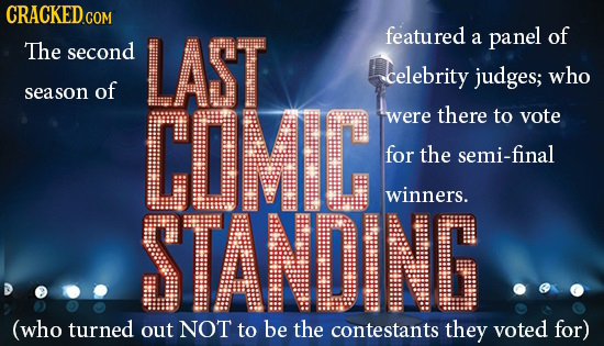 CRACKED.COM LAST featured panel of a The second celebrity judges; who season of CIMT were there to vote for the semi-final winners. STANDNG (who turne