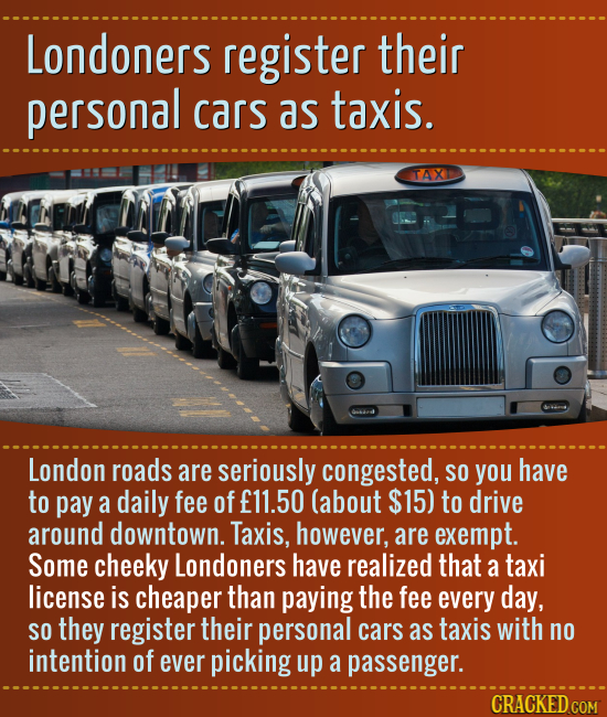 Londoners register their personal cars as taxis. TAX London roads are seriously congested, SO you have to pay a daily fee of f11.50 (about $15) to dri