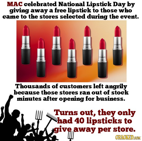 MAC celebrated National Lipstick Day by giving away a free lipstick to those who came to the stores selected during the event. Thousands of customers