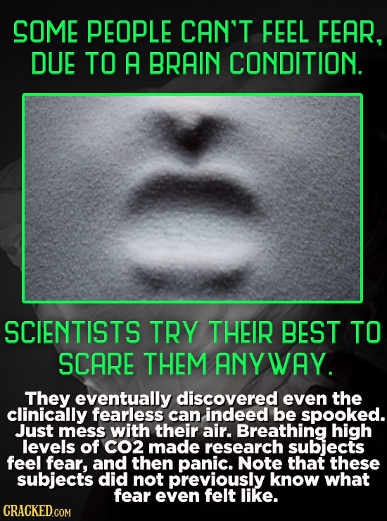 SOME PEOPLE CAN'T FEEL FEAR, DUE TO A BRAIN CONDITION. SCIENTISTS TRY THEIR BEST TO SCARE THEM ANY WAY. They eventually discovered even the clinically