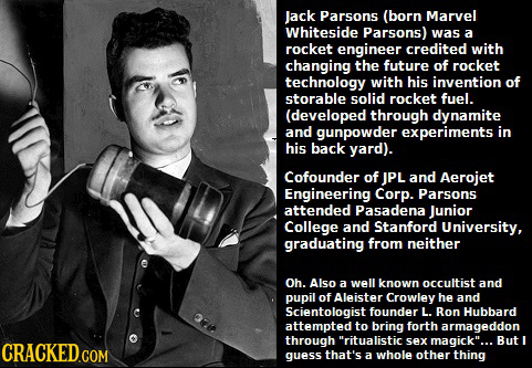 Jack Parsons (born Marvel Whiteside Parsons) was a rocket engineer credited with changing the future of rocket technology with his invention of storab
