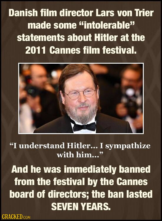 Danish film director Lars von Trier made some intolerable statements about Hitler at the 2011 Cannes film festival. I understand Hitler... I sympat