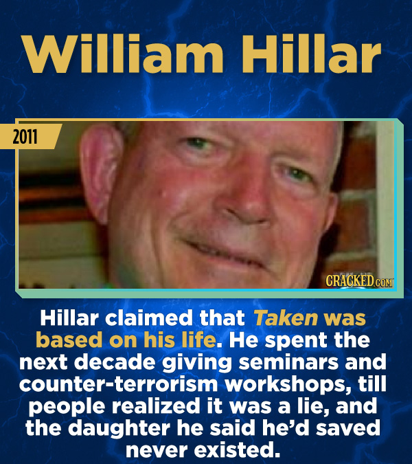 15 Stunning Frauds That Somehow Took People In - Hillar claimed that Taken was based on his life. He spent the next decade giving seminars and counter