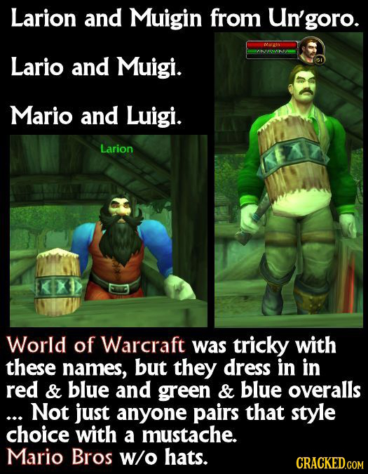 Larion and Muigin from goro. Micin Lario and Muigi. Mario and Luigi. Larion World of Warcraft was tricky with these names, but they dress in in red &