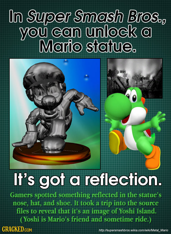 In Super Smash Bros., you can unlock a Mario statue. It's got a reflection. Gamers spotted something reflected in the statue's nose, hat, and shoe. It