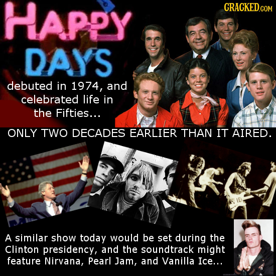 Happy CRACKED DAYS debuted in 1974, and celebrated life in the Fifties... ONLY TWO DECADES EARLIER THAN IT AIRED. A similar show today would be set du