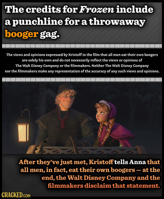 The credits for Frozen include a punchline for a throwaway booger gag. The views and opinions expressed by Kristoff in the film that all men eat their