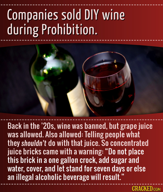 Companies sold DIY wine during Prohibition. Back in the '20s, wine was banned, but grape juice was allowed. Also allowed: Telling people what they sho