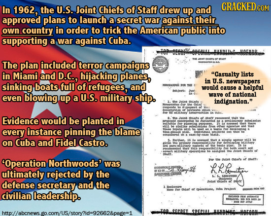 CRACKEDC In 1962, the U.S. Joint Chiefs of Staff drew up and COM approved plans to launch a secret war against their own country in order to trick the