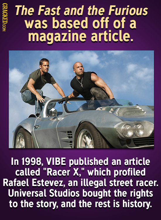 GRAc The Fast and the Furious was based off of a magazine article. In 1998, VIBE published an article called Racer X, which profiled Rafael Estevez,