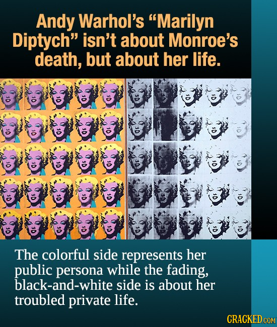 Andy Warhol's Marilyn Diptych isn't about Monroe's death, but about her life. 0 30 Or 0 01 OF 10 Os 0 0 0f 0 0f O The colorful side represents her p