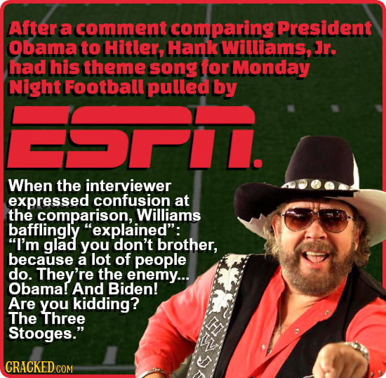After a comment comparing President Obama to Hitler, Hank Williams, Jr. had his theme song for Monday Night Football pulled by ST When the interviewer
