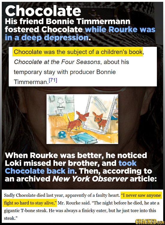 Chocolate His friend Bonnie Timmermann fostered Chocolate while Rourke was in a deep depression. Chocolate was the subject of a children's book, Choco