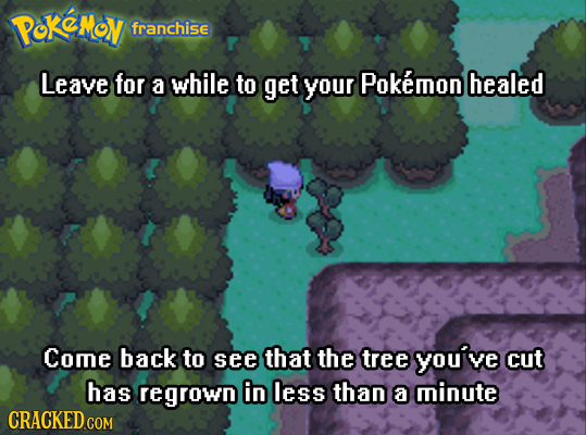 PoKeMov franchise Leave for a while to get your Pokemon healed Come back to see that the tree youive cut has regrown in less than a minute CRACKED COM