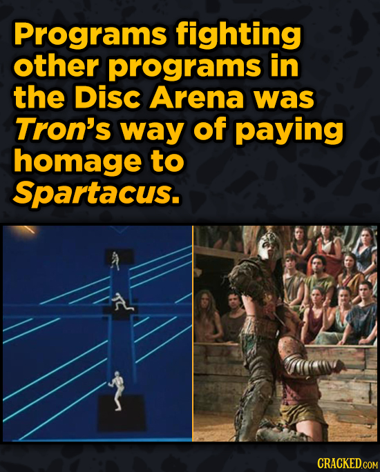 Movies With Sneaky Shout-Outs To Other Movies - Programs fighting other programs in the Disc Arena was Tron's way of paying homage