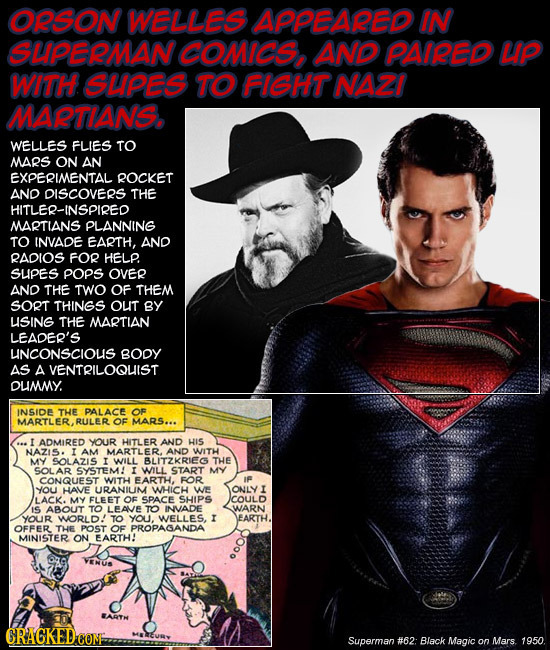 ORSON WELLES APPBARED IN SLPERMAN coMies AD PMREP LP WhH SLPES TO HGHT NAZI MALANS, WELLES FLIES TO MARS ON AN EXPERIENTAL ROCKET AND DISCOVERS THE ER