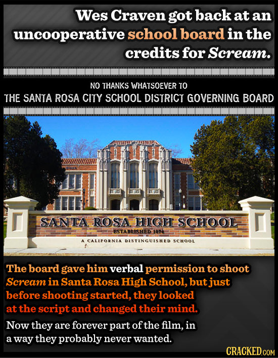 Wes Craven got back at an uncooperative school board in the credits for Scream. NO THANKS WHATSOEVER TO THE SANTA ROSA CITY SCHOOL DISTRICT GOVERNING