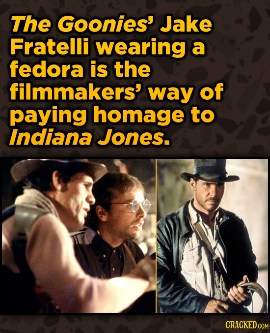 Movies With Sneaky Shout-Outs To Other Movies - The Goonies' Jake Fratelli wearing a fedora is the filmmakers' way of
