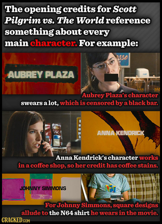 The opening credits for Scott Pilgrim us. The World reference something about every main character. For example: sso AUBREY PLAZA Aubrey Plaza's chara