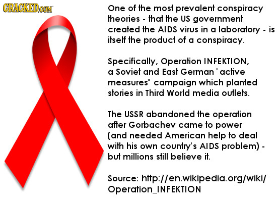 CRAGKED.OON One of the most prevalent conspiracy theories that the US government created the AIDS virus in a laboratory - is itself the product of a c