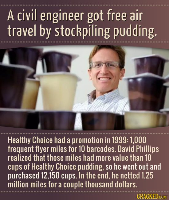 A civil engineer got free air travel by stockpiling pudding. CAMA Healthy Choice had a promotion in 1999: 1,000 frequent flyer miles for 10 barcodes.