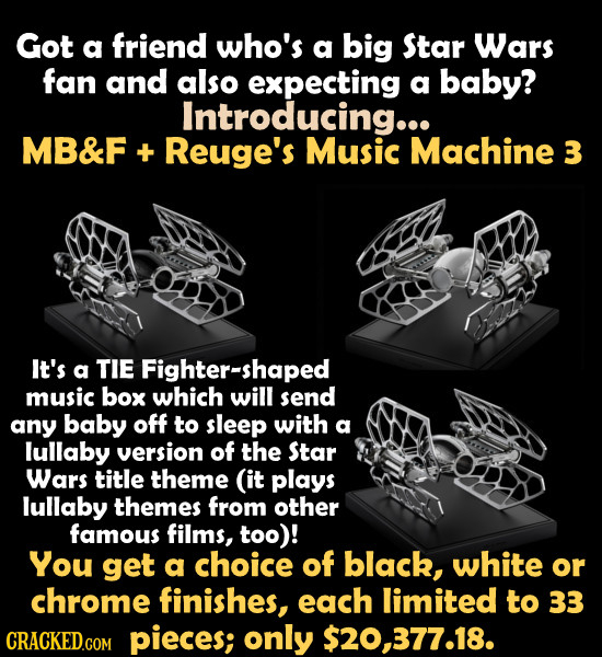 Got a friend who's a big Star Wars fan and also expecting a baby? Introducing... MB&F + Reuge's Music Machine 3 It's a TIE Fighter-shaped music box wh