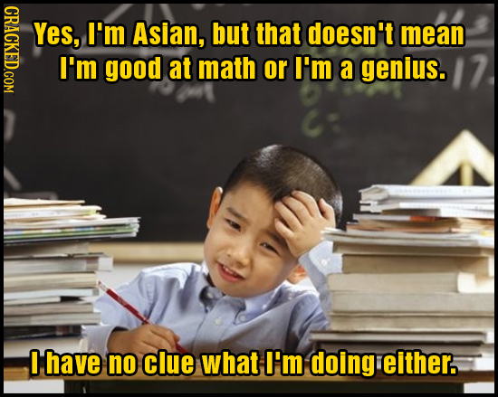 CRACKED.COM Yes, I'm Asian, but that doesn't mean I'm good at math or I'm a genius. have no clue what I'm doing either.