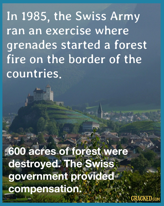 In 1985, the Swiss Army ran an exercise where grenades started a forest fire on the border of the countries. 600 acres of forest were destroyed. The S