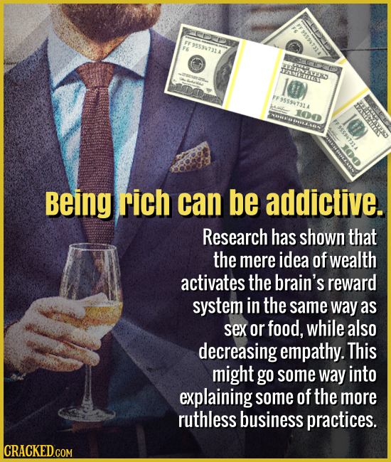 Being rich can be addictive. - Research has shown that the mere idea of money activates the brain's reward system in the same way as sex or food, whil