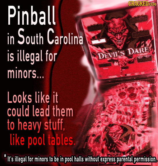 Pinball CRACKED COM in South Carolina is illegal for DARE DEVILS minors... Looks like it could lead them to heavy stuff, like pool tables. IT's illega