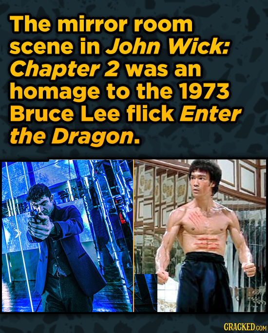 Movies With Sneaky Shout-Outs To Other Movies - The mirror room scene in John Wick: Chapter 2 was an homage to the 1973 Bruce Lee flick