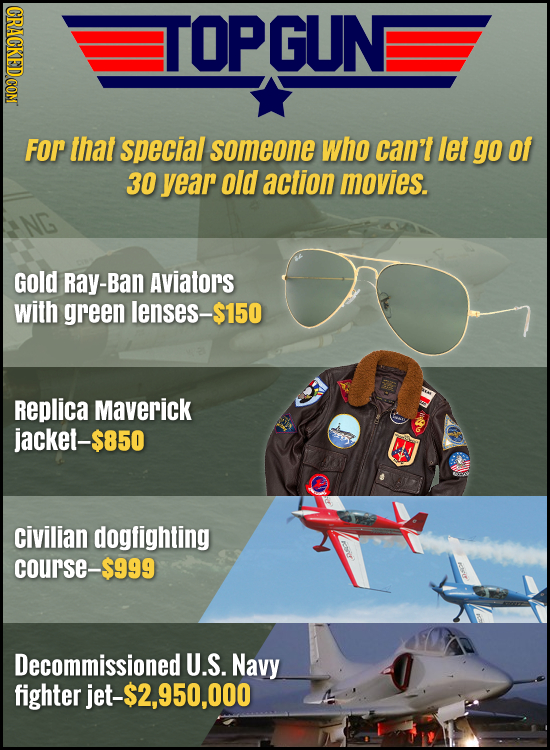 CRACKED COM TOPGUN For that special someone who can't let go Of 30 year old action movies. Gold Ray-Ban Aviators with green lenses-$150 Replica Maveri