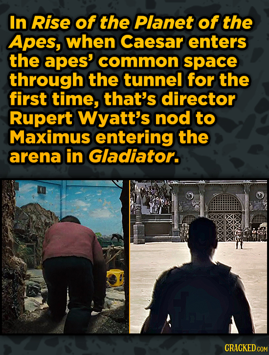 Movies With Sneaky Shout-Outs To Other Movies - In Rise of the Planet of the Apes, when Caesar enters the apes' common space