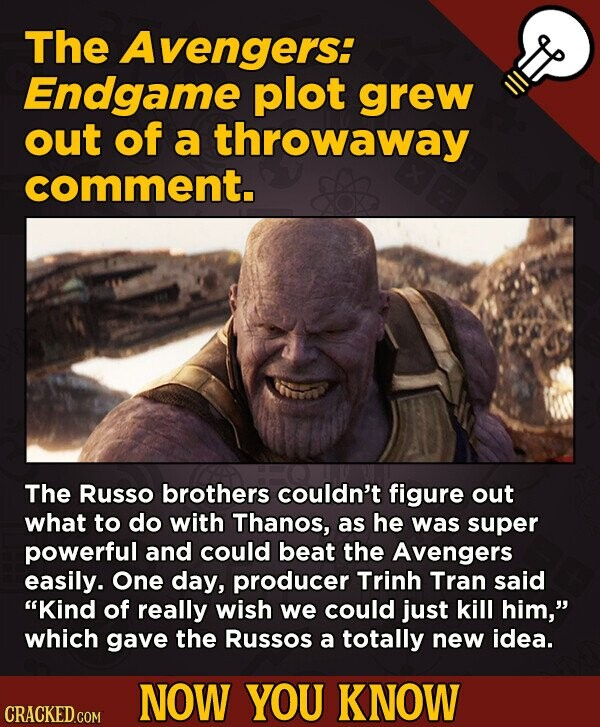The Avengers: Endgame plot grew out of a throwaway comment. The Russo brothers couldn't figure out what to do with Thanos, as he was super powerful an