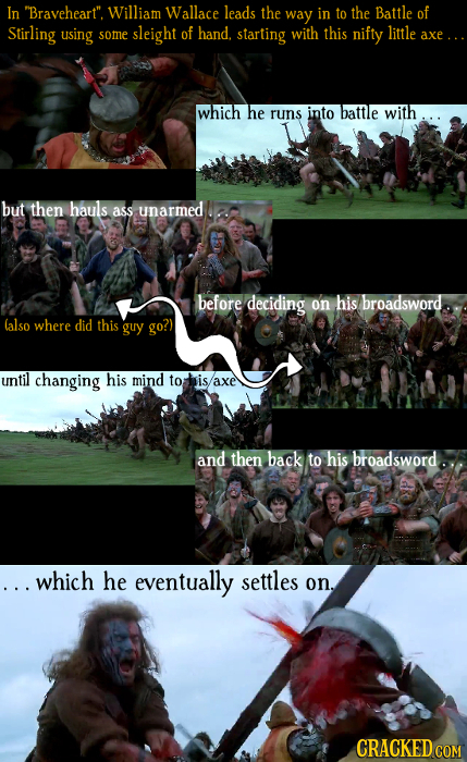 In Braveheart. William Wallace leads the way in to the Battle of Stirling using little some sleight of hand. starting with this nifty axe.. which he