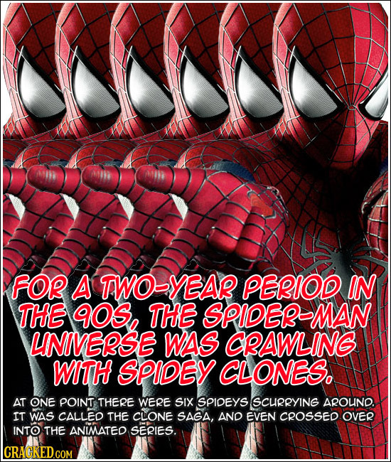 FOR A TWOBYEAR PERIOD IN THE 9OS THE SPIDEBMAN LNIVEBSE WAS CBAWLING WITH SPIDEY CLONES. AT ONE POINT THERE WERE SIX SPIDEYS SCuRRYING AROUND. IT WAS