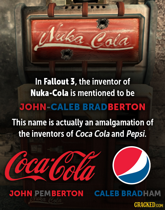 Iuka Cola In Fallout 3, the inventor of Nuka-Cola is mentioned to be JOHN-CALEB BRADBERTON This name is actually an amalgamation of the inventors of C