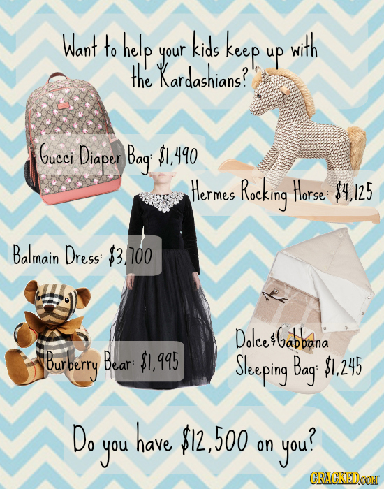 Want to help kids keep with your up the Kardashians? Gucci Diaper Bagi 490 Hermes Rocking Horse $4 25 Balmain Dress: $3.100 Dolce Gabbana Burberry Bea