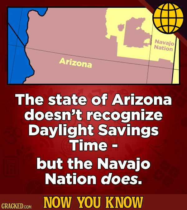 Navajo Nation Arizona The state of Arizona doesn't recognize Daylight Savings Time - but the Navajo Nation does. NOW YOU KNOW CRACKED COM