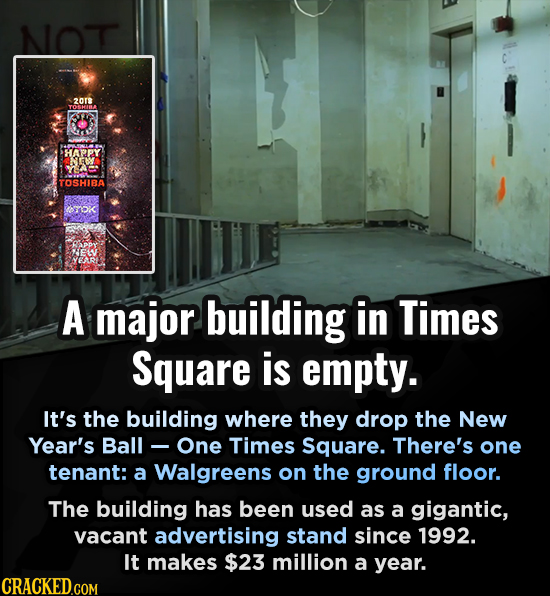 NOT 2018 HAPPY BY TOSHIBA ITO A major building in Times Square is empty. It's the building where they drop the New Year's Ball - One Times Square. The