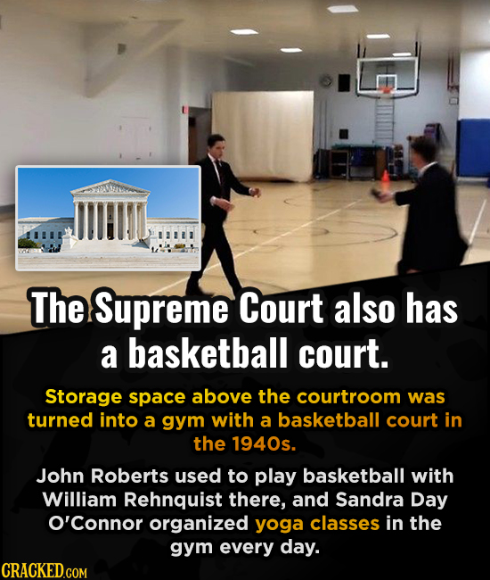 The Supreme Court also has a basketball court. Storage space above the courtroom was turned into a gym with a basketball court in the 1940s. John Robe