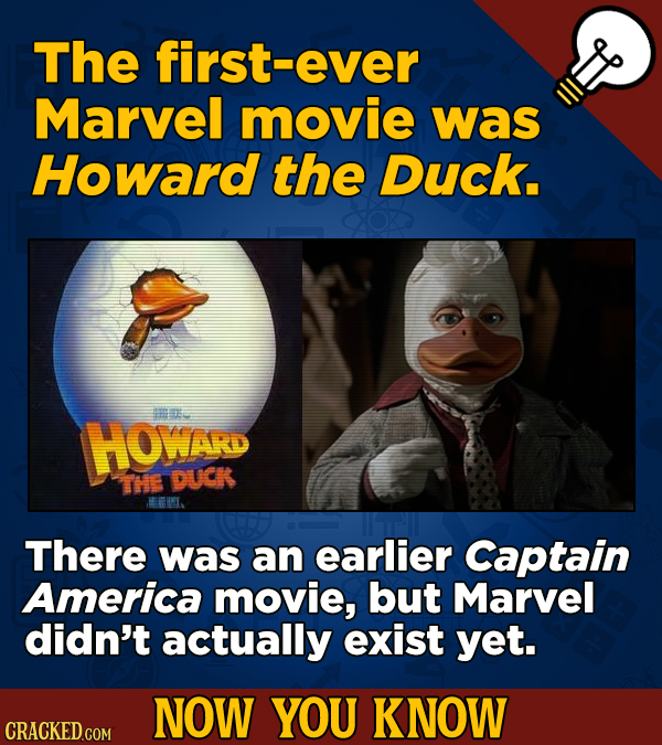 The first-ever Marvel movie was Howard the Duck. m HOWAR THE DUCK BMKL. There was an earlier Captain America movie, but Marvel didn't actually exist y