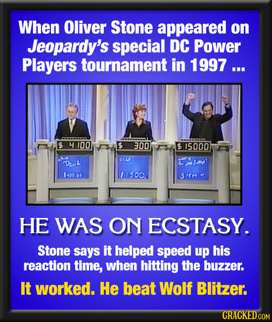When Oliver Stone appeared on Jeopardy's special DC Power Players tournament in 1997 ... $4100 300 S 15000 uL V s 11000 11500. 3/. HE WAS ON ECSTASY.