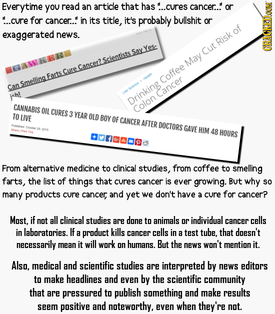 Everytime you read an article that has!. ..cures cancer..!' or ...cure for cancer.. in its title, it's probably bullshit or exaggerated news. Risk